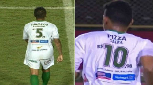Brazilian club Fluminense de Feira advertise supermarket goods on their shirts
