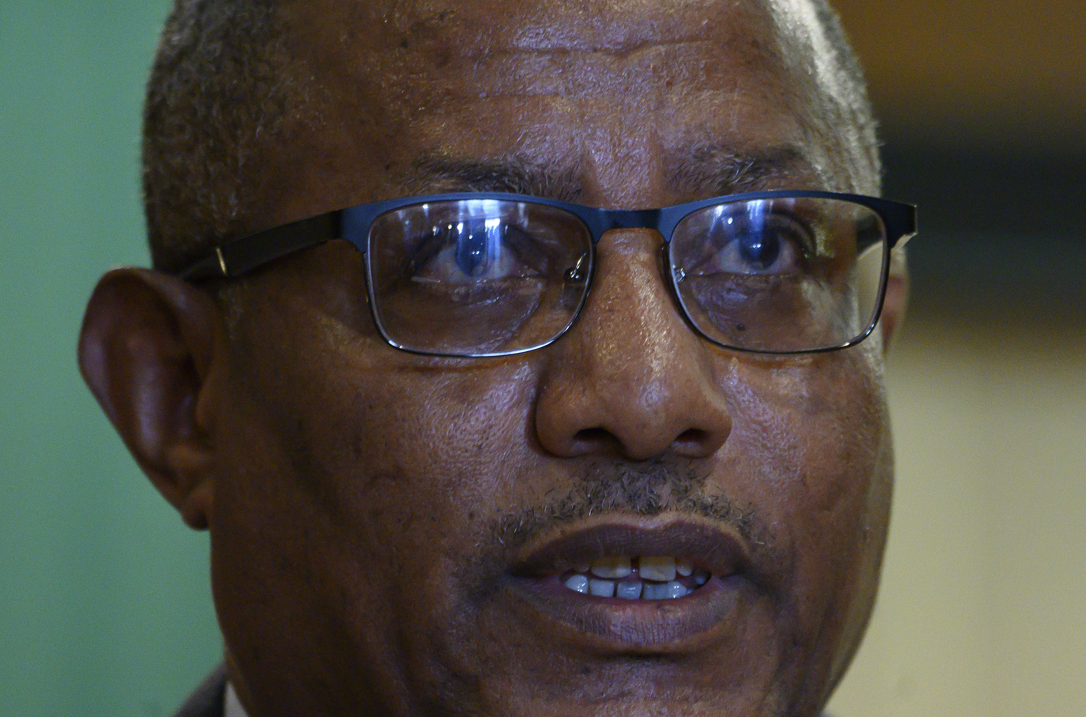 FILE - In this Tuesday, Feb. 18, 2020 file photo, Ethiopia's Foreign Minister Gedu Andargachew speaks during a press conference with U.S. Secretary of State Mike Pompeo, at the Sheraton Hotel, in Addis Ababa, Ethiopia. In an interview with The Associated Press Friday, June 19, 2020, Ethiopia's Foreign Minister Gedu Andargachew declared that his country will go ahead and start filling the $4.6 billion Grand Ethiopian Renaissance Dam next month, even without an agreement with Egypt and Sudan. (Andrew Caballero-Reynolds/Pool Photo via AP, File)