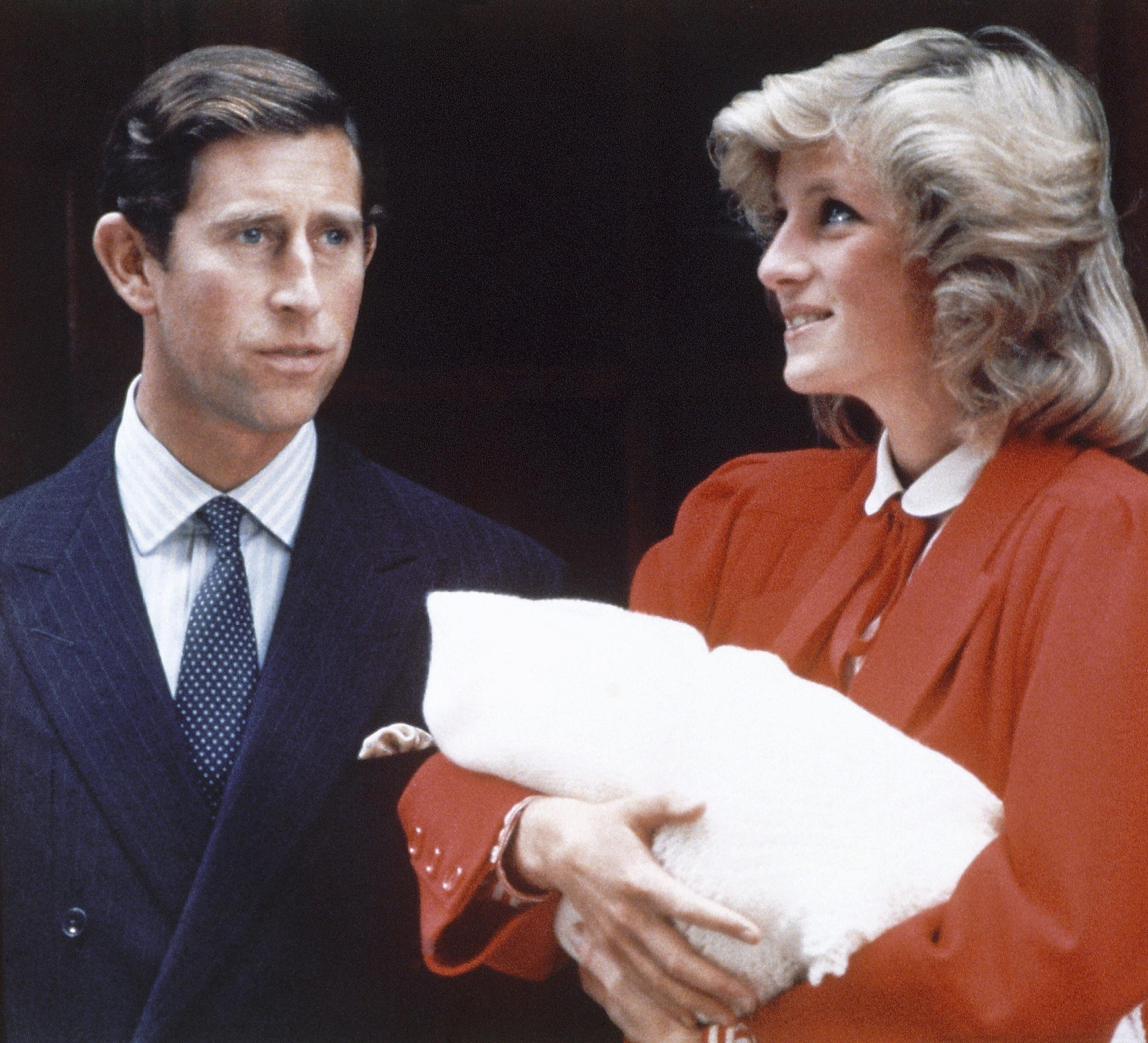 Prince Charles and Princess Diana leave St. Mary's Hospital in London, with Prince Harry on September 16, 1984.
