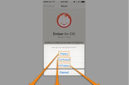 App's clever feedback system helps happy users tweet, while angry customers can only email