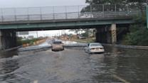Flood Water Swamps New York's Sunrise Highway