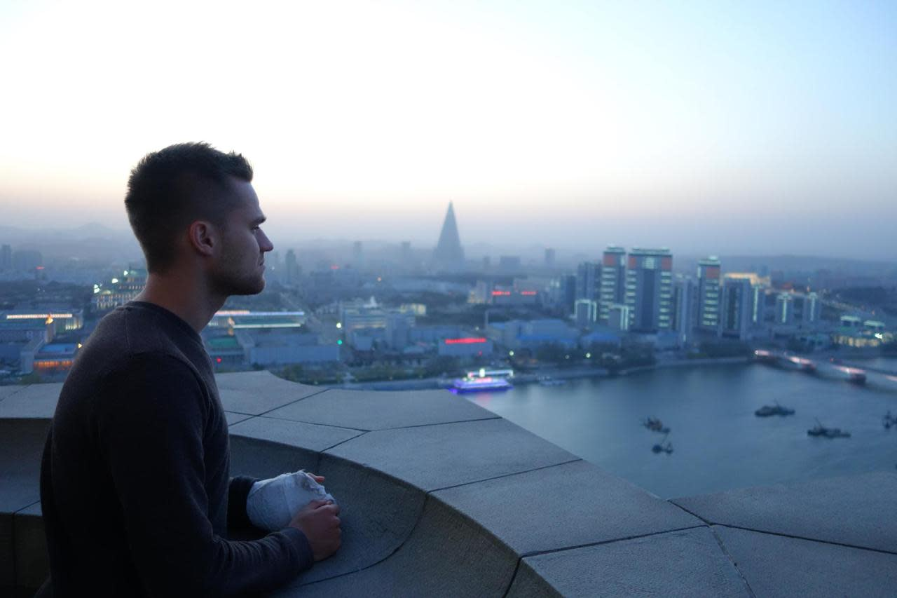 <p><i>The group visited the tallest stone tower in the world - the Juche Tower in central Pyongyang, taking in its magnificent views.</i></p>