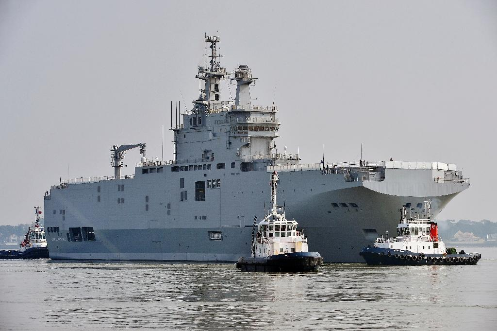 The Sevastopol mistral warship, pictured here on March 16, 2015, is one of two mammoth warships that France hopes to resell after a cancelled delivery to Russia (AFP Photo/Georges Gobet)