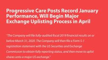 Progressive Care Posts Record January Performance, Will Begin Major Exchange Uplisting Process in April