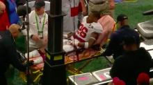 Alabama DB Kyriq McDonald collapses on sideline