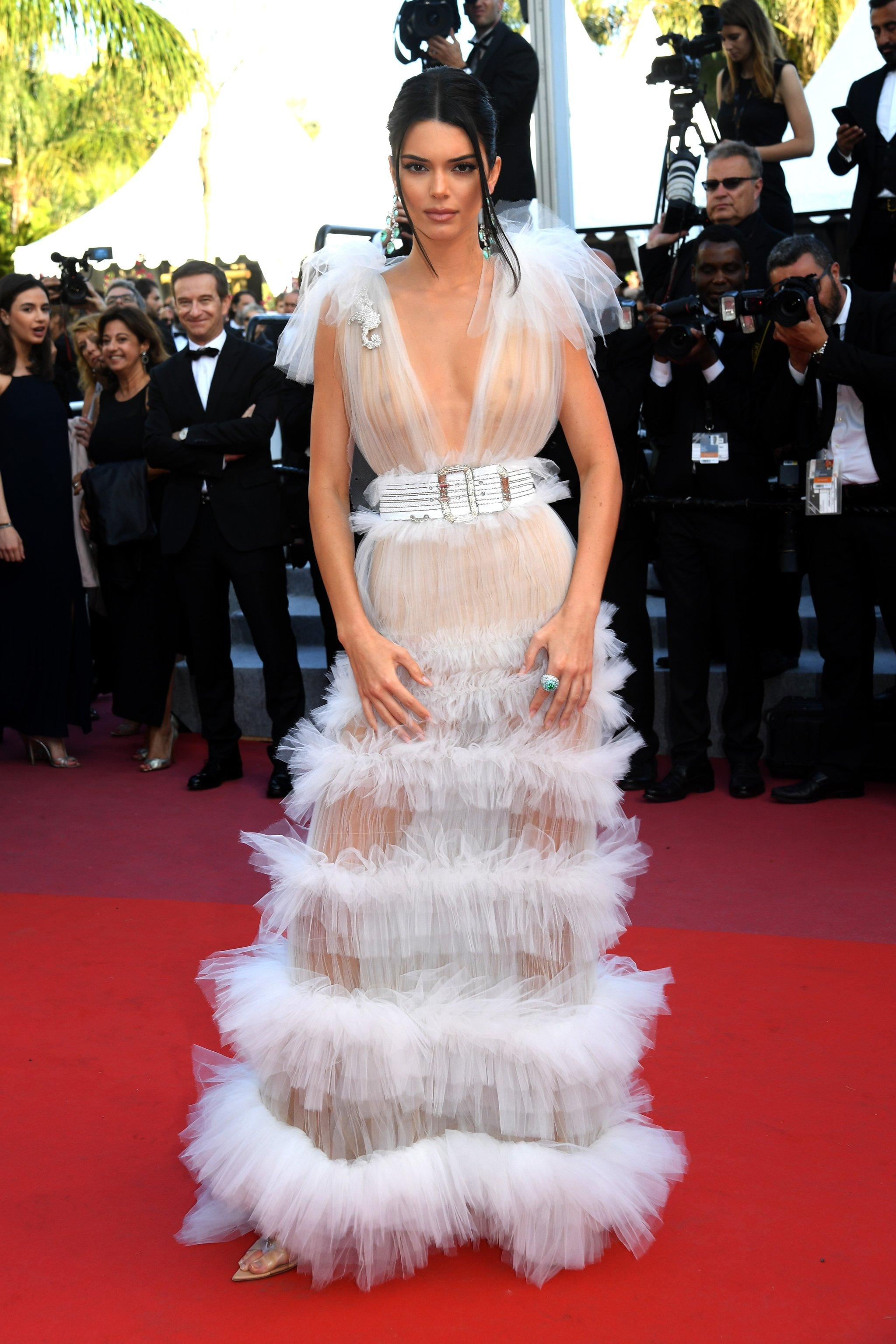 Kendall Jenner\'s White Gown Is So Sheer, It Might as Well Be Invisible