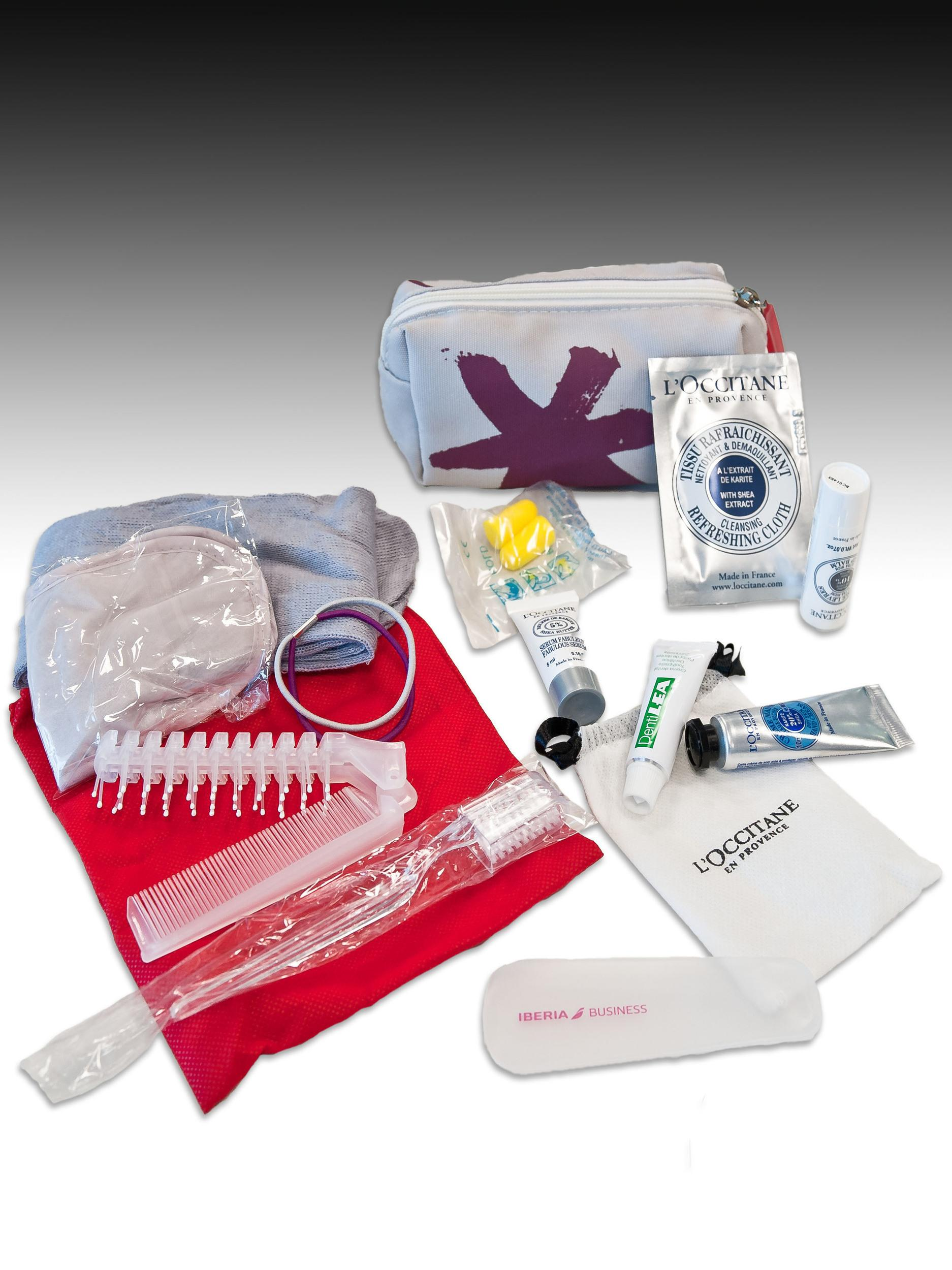 <p><strong>What do you get?</strong> Toothbrush, toothpaste, socks, ear plugs, eye mask, comb, eau de cologne, moisturiser, wet wipe, shoe bag, lip balm, hairbands</p>
