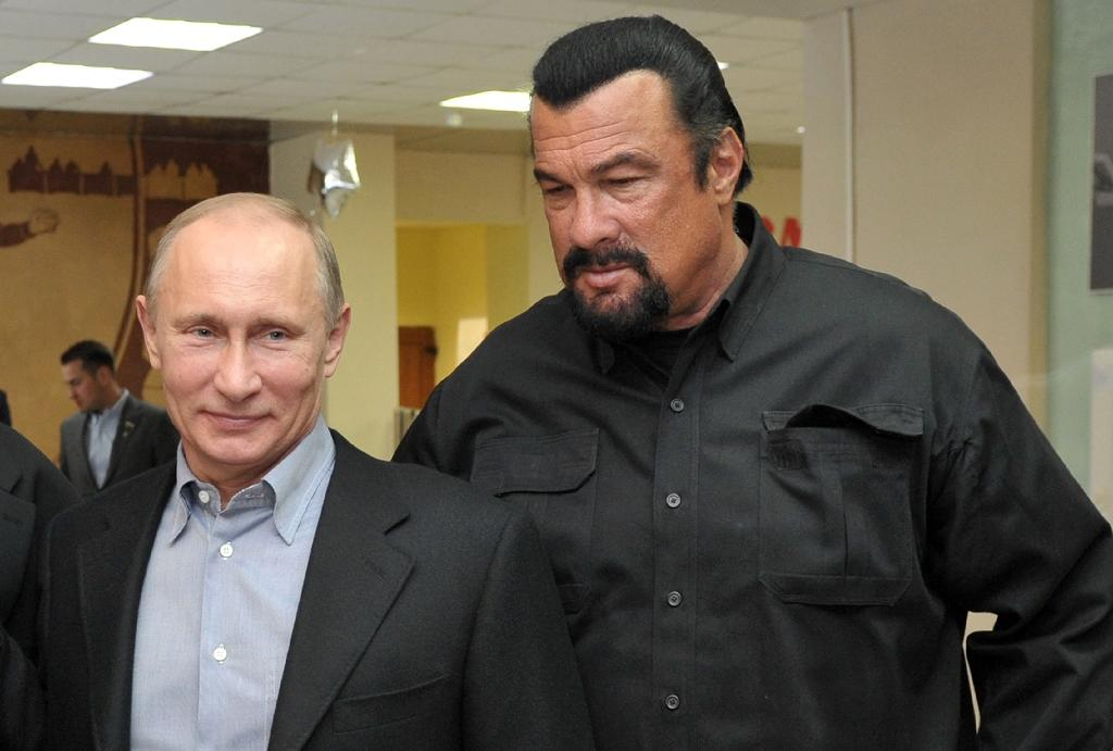 Russia's President Vladimir Putin (left) and American actor Steven Seagal pictured in Moscow in 2013