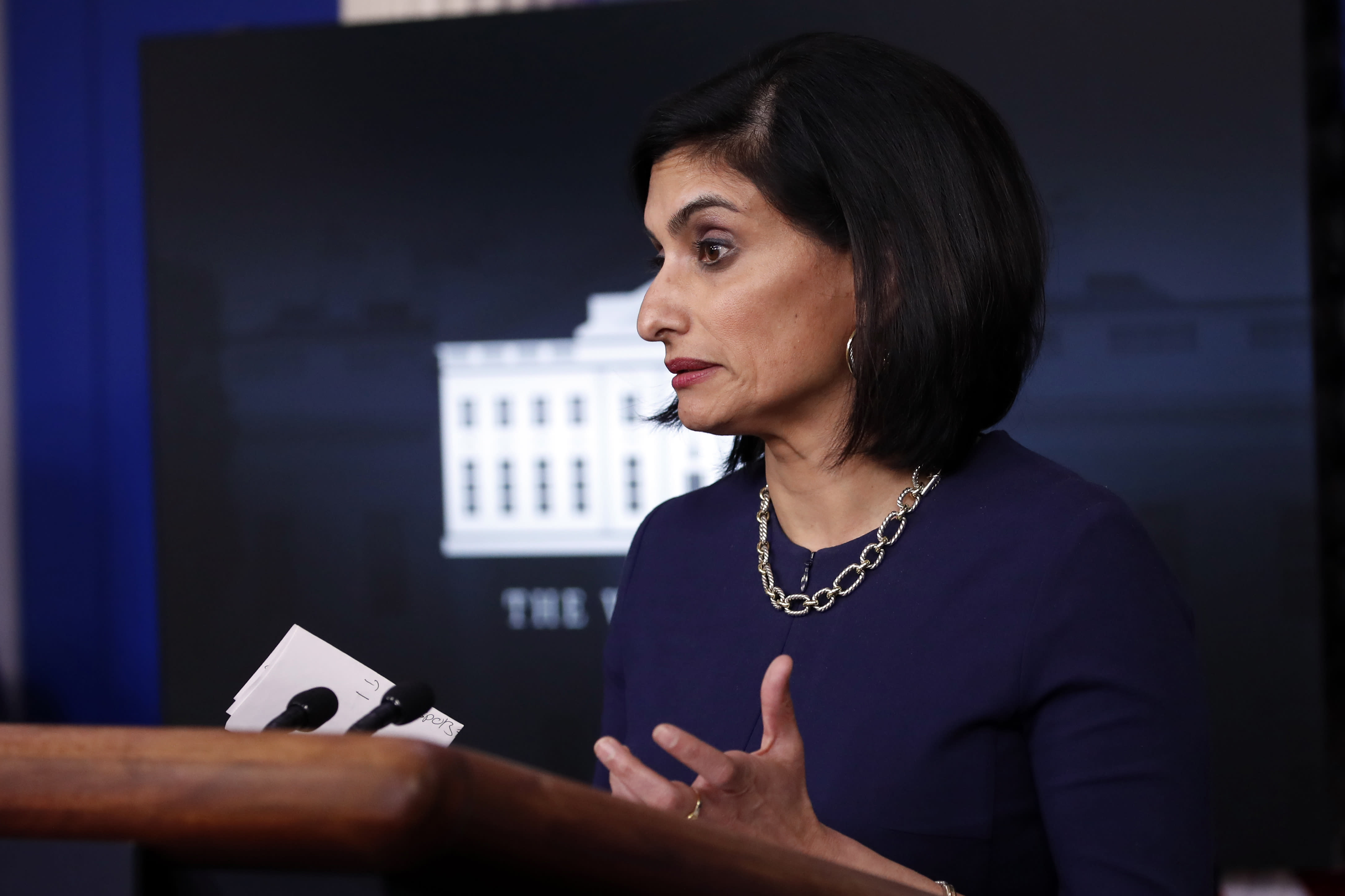 FILE - In this April 7, 2020, file photo, Seema Verma, administrator of the Centers for Medicare and Medicaid Services, speaks about the coronavirus in the James Brady Press Briefing Room of the White House in Washington. Verma failed to properly manage more than $6 million in communications and outreach contracts, giving broad authority over federal employees to a Republican media strategist she worked with before joining the Trump administration, a government watchdog said in a report to be released Thursday, July 16. (AP Photo/Alex Brandon, File)