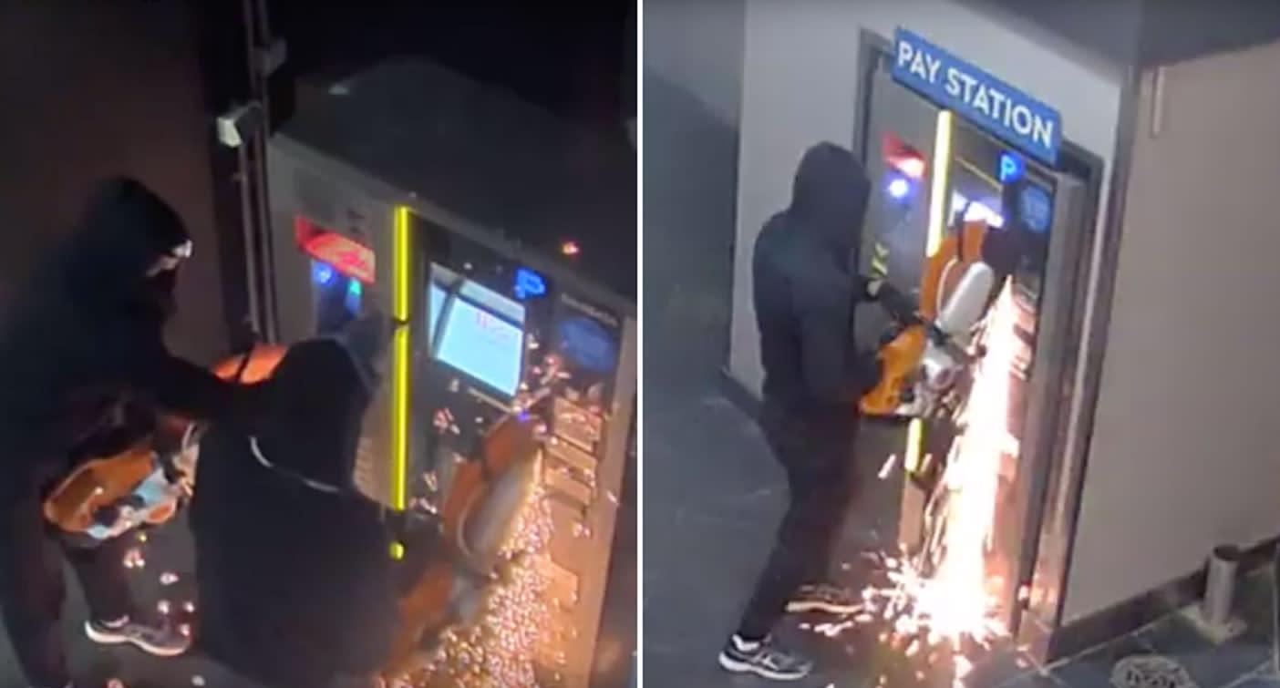 CCTV captures brazen attempt to break into parking ticket machines