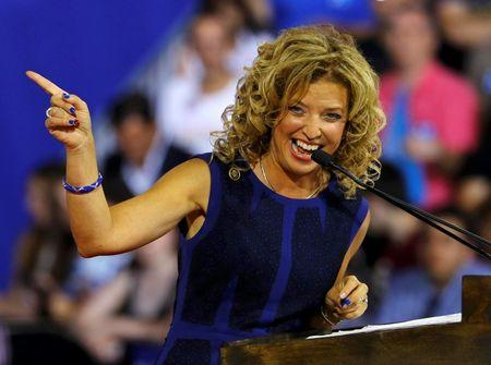 Democratic National Committee (DNC) Chairwoman Debbie Wasserman Schultz speaks at a rally, before the arrival of Democratic U.S. presidential candidate Hillary Clinton and her vice presidential running mate U.S. Senator Tim Kaine, in Miami, Florida, U.S. July 23, 2016. Picture taken July 23, 2016. REUTERS/Scott Audette
