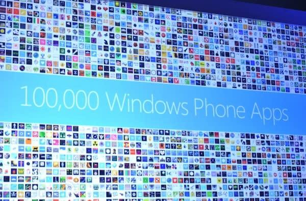 Windows Phone Marketplace has 100,000 published apps, counts Words with Friends and Draw Something among 'em