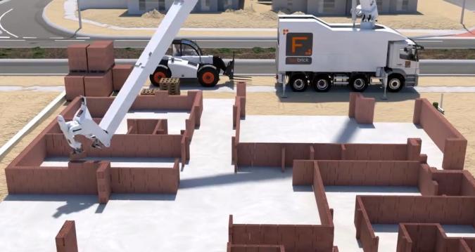Bauarbeiter-Bot mauert Häuser im Zeitraffer hoch
