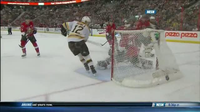 Jarome Iginla one-times Lucic's perfect pass