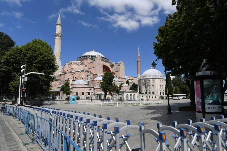 A picture taken on July 11, 2020 shows police fences set up around Hagia Sophia in Istanbul, a day after a top Turkish court revoked the sixth-century Hagia Sophia's status as a museum, clearing the way for it to be turned back into a mosque