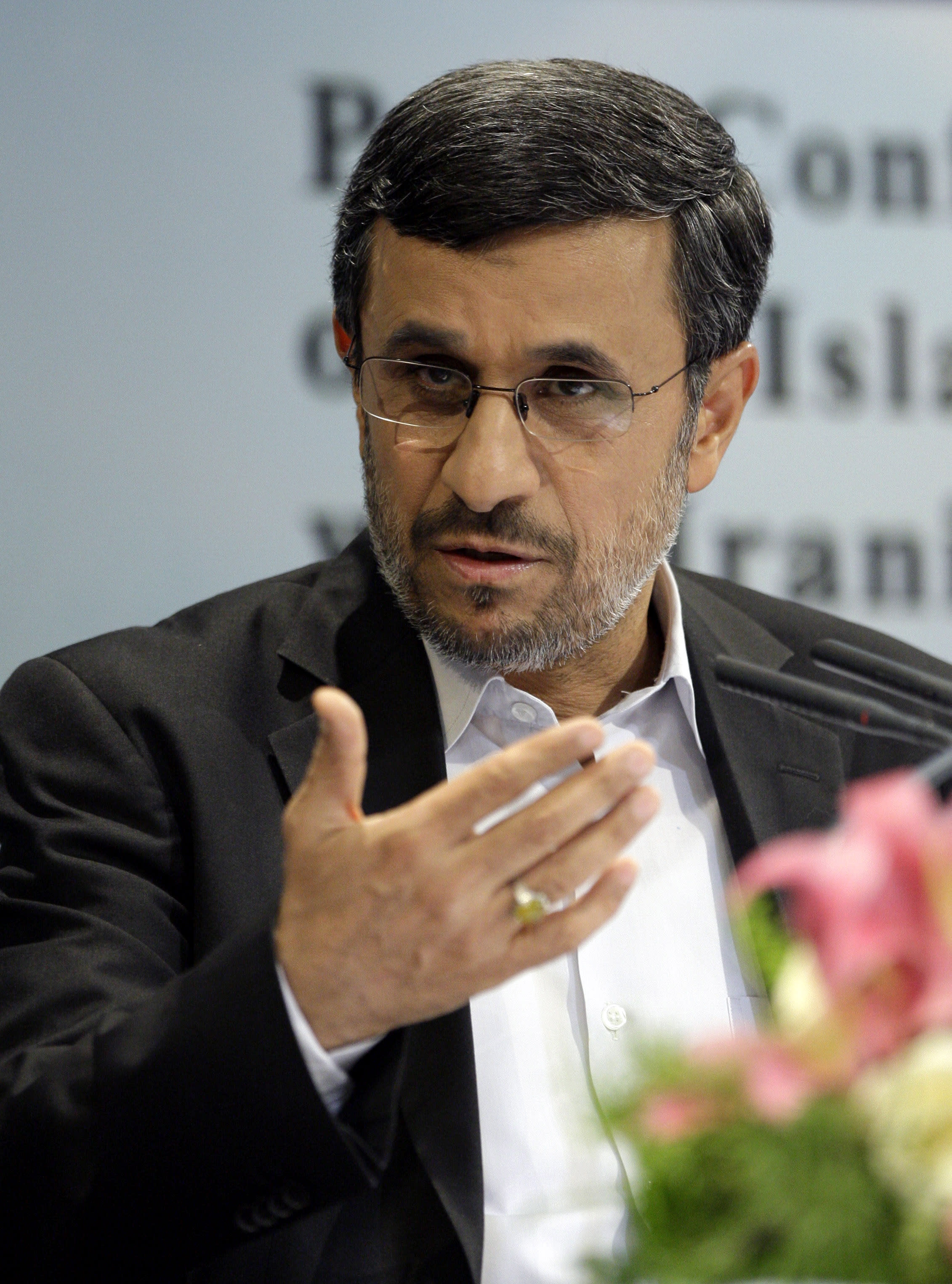 """Iranian President Mahmoud Ahmadinejad speaks at a press conference in Tehran, Iran, Tuesday, Oct. 2, 2012. Ahmadinejad blamed the steep drop in Iran's currency Tuesday to """"psychological pressures"""" linked to Western sanctions over Tehran's nuclear program. The remarks were part of his attempt to deflect criticism from political rivals that his government's policies also have contributed to the nosedive of the Iranian rial, which has lost more than half its value against the U.S. dollar this year and has sharply pushed up costs for many imported goods. (AP Photo/Vahid Salemi)"""