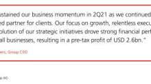 UBS: 2Q21 Net Profit of USD 2.0bn, 19.3% return on CET1 Capital (Ad Hoc Announcement Pursuant to Article 53 of the SIX Exchange Regulation Listing Rules)