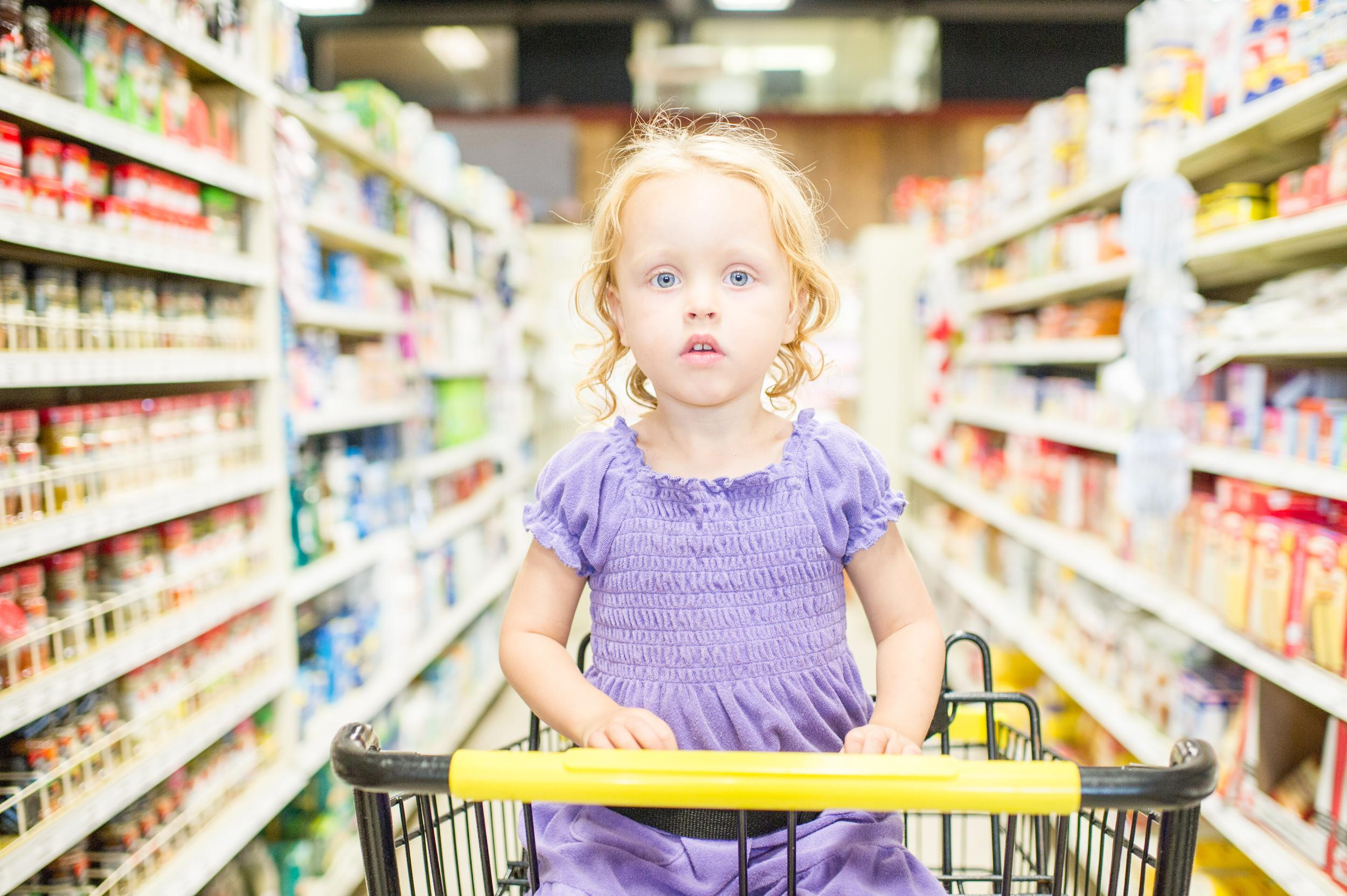 <p>If you browse at eye-level using your peripheral vision, that's where you'll find the expensive brands.</p>  <p>Look around at the top and bottom of the shelves for the own-brand versions or the cheaper brands - and try out the cheaper versions of your usual shopping.</p>