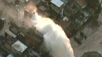 Raw: Deadly Water Main Explosion in Brazil