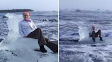 Grandma gets swept out to sea on iceberg after posing for photo