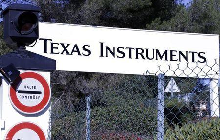 View of the entrance of the research building of Texas Instruments France firm in Villeneuve-Loubet near Nice