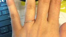 Bride-to-be shamed for choosing tiny 'paper clip' wedding ring