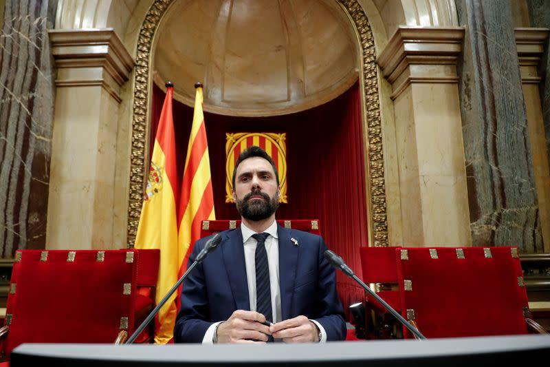 FILE PHOTO: Catalonia's Parliament President Roger Torrent looks on during a session at the Parliament of Catalonia, in Barcelona