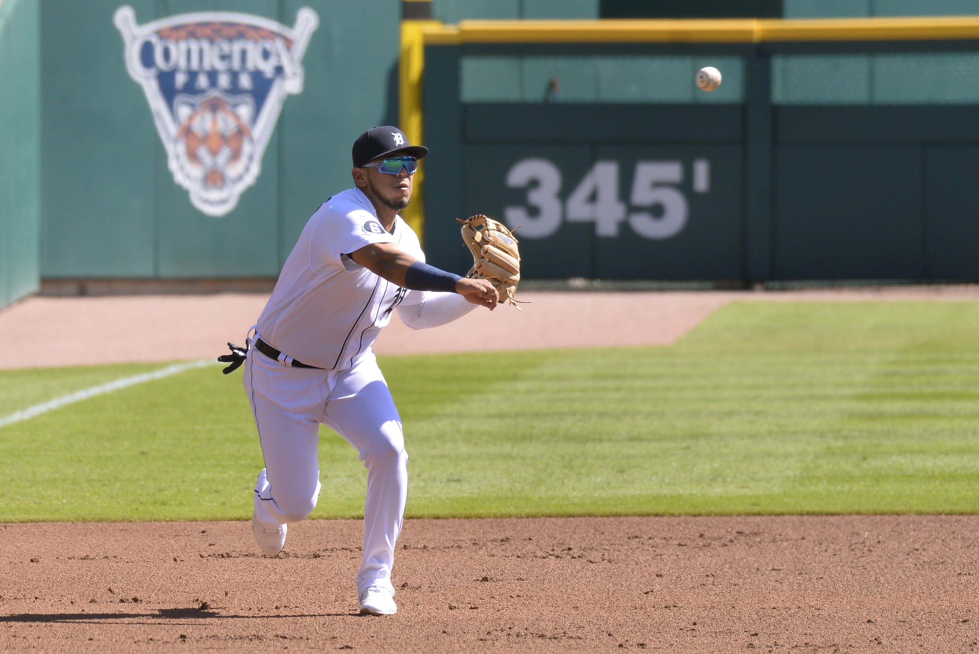 Detroit Tigers third baseman Isaac Paredes thows to first base for an out against the Cleveland Indians in the first inning of a baseball game, Sunday, Sept. 20, 2020, in Detroit. (AP Photo/Jose Juarez)