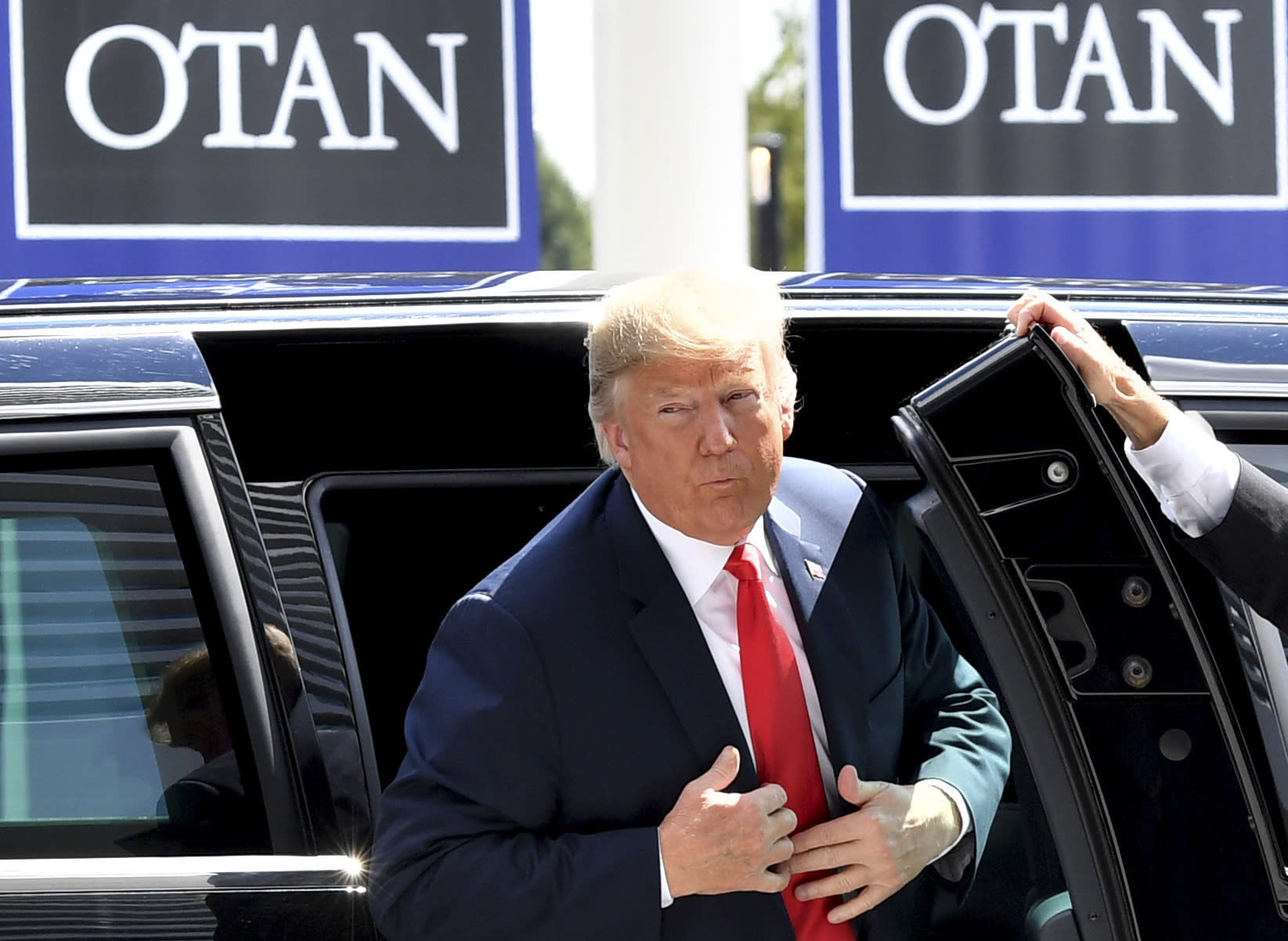 <p>President Trump arrives for the summit of heads of state and government at NATO headquarters in Brussels on Wednesday, July 11, 2018. NATO leaders gathered in Brussels for a two-day summit to discuss Russia, Iraq and their mission in Afghanistan. (Photo: Geert Vanden Wijngaert/AP) </p>