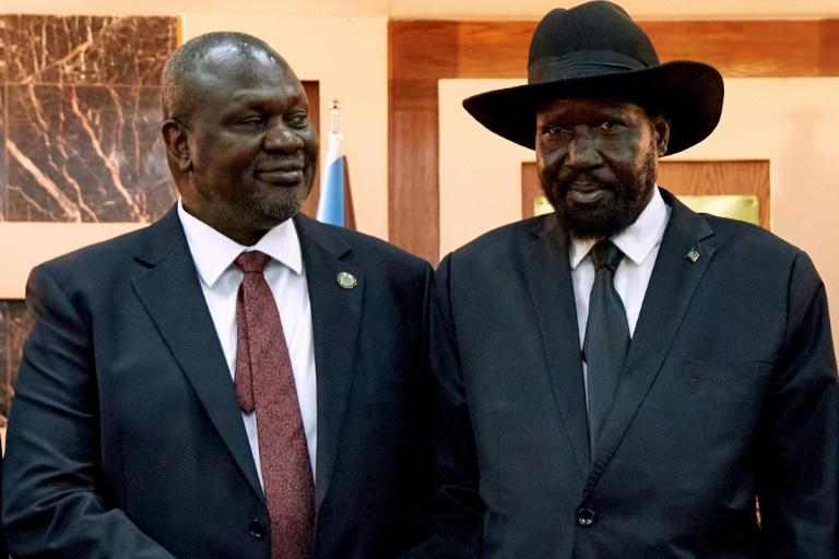 South Sudanese President Salva Kiir, right, pictured with Vice President Riek Machar at swearing-in ceremonies in February