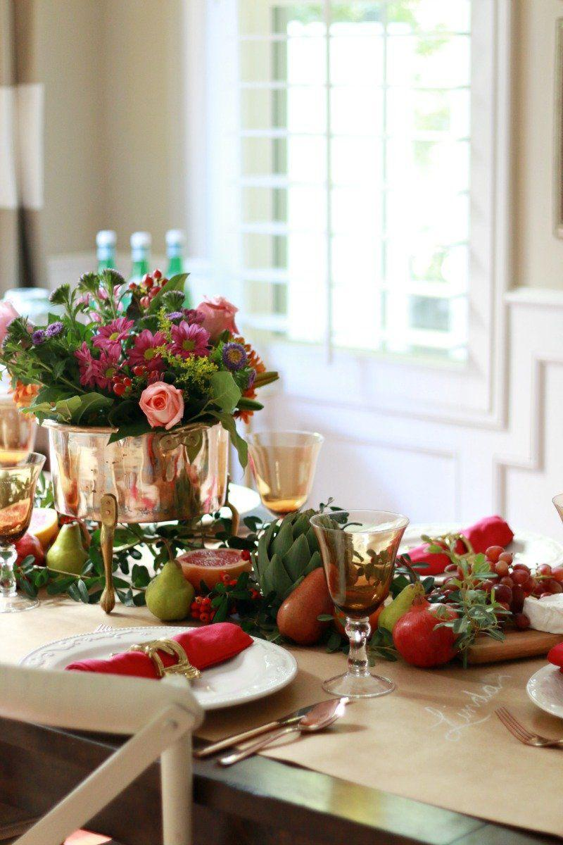 "<p>Go bold and bright this year with accents of pink and gold on your fall dinner table. </p><p><strong>Get the tutorial at <a href=""http://www.athoughtfulplaceblog.com/thanksgiving-table-bright-bold/"" rel=""nofollow noopener"" target=""_blank"" data-ylk=""slk:A Thoughtful Place."" class=""link rapid-noclick-resp"">A Thoughtful Place. </a></strong></p>"