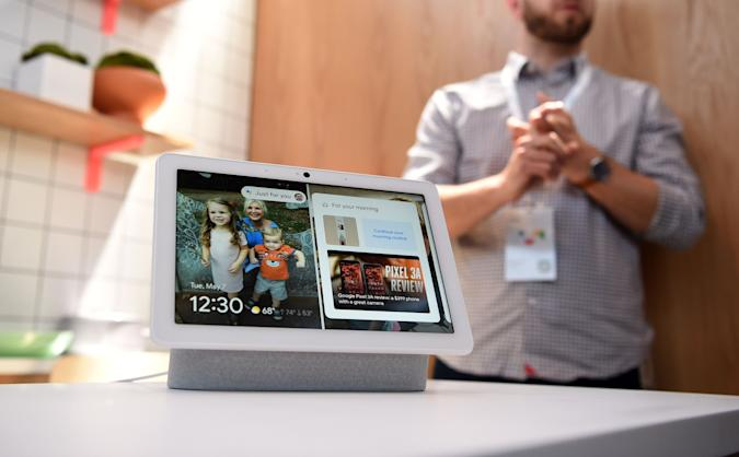 This photo shows a new Google Nest Hub Max on display during the Google I/O conference at Shoreline Amphitheatre in Mountain View, California on May 7, 2019. (Photo by Josh Edelson / AFP)        (Photo credit should read JOSH EDELSON/AFP via Getty Images)