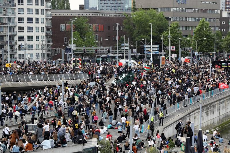 Protest against the death of George Floyd, in Rotterdam