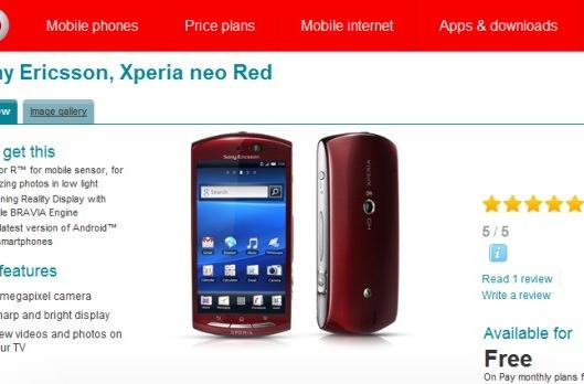 Xperia Neo now shipping from Vodafone UK in stunning red apparel
