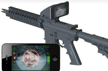 The Inteliscope connects your iPhone to an actual firearm