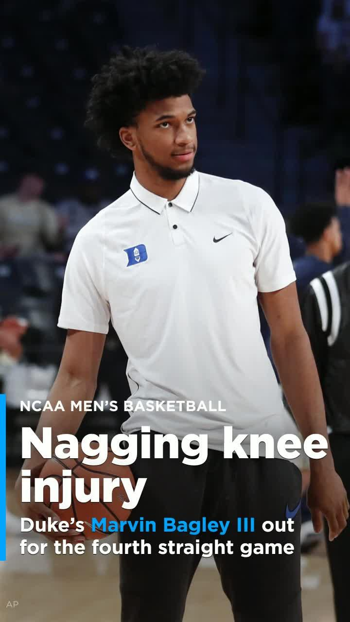 c89995c04e4 Duke s Marvin Bagley III out for the fourth straight game with knee injury   Video