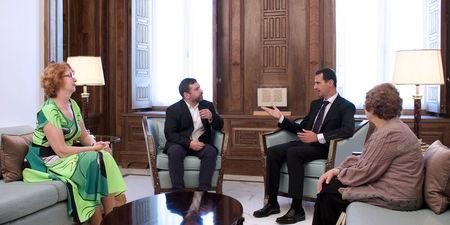 Syria's President Bashar al-Assad (C-R) meets with European Parliament delegation in Damascus, Syria, in this handout picture provided by SANA on July 10, 2016. SANA/Handout via REUTERS