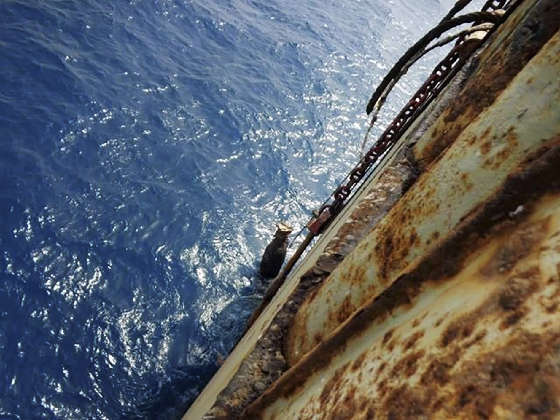 This image provided by I.R. Consilium taken in 2019, shows deterioration on the FSO Safer, moored off Ras Issa port, Yemen. Houthi rebels are blocking the United Nations from inspecting the abandoned oil tanker loaded with more than one million barrels of crude oil. UN officials and experts fear the tanker could explode or leak, causing massive environmental damage to Red Sea marine life. (I.R. Consilium via AP)