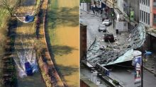 Cars submerged by Storm Brendan flooding after high winds blew roof onto Slough street