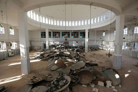 Satellite dishes damaged by Islamic State militants are pictured inside a mosque in Turkman Bareh village, after rebel fighters advanced in the area, in northern Aleppo Governorate