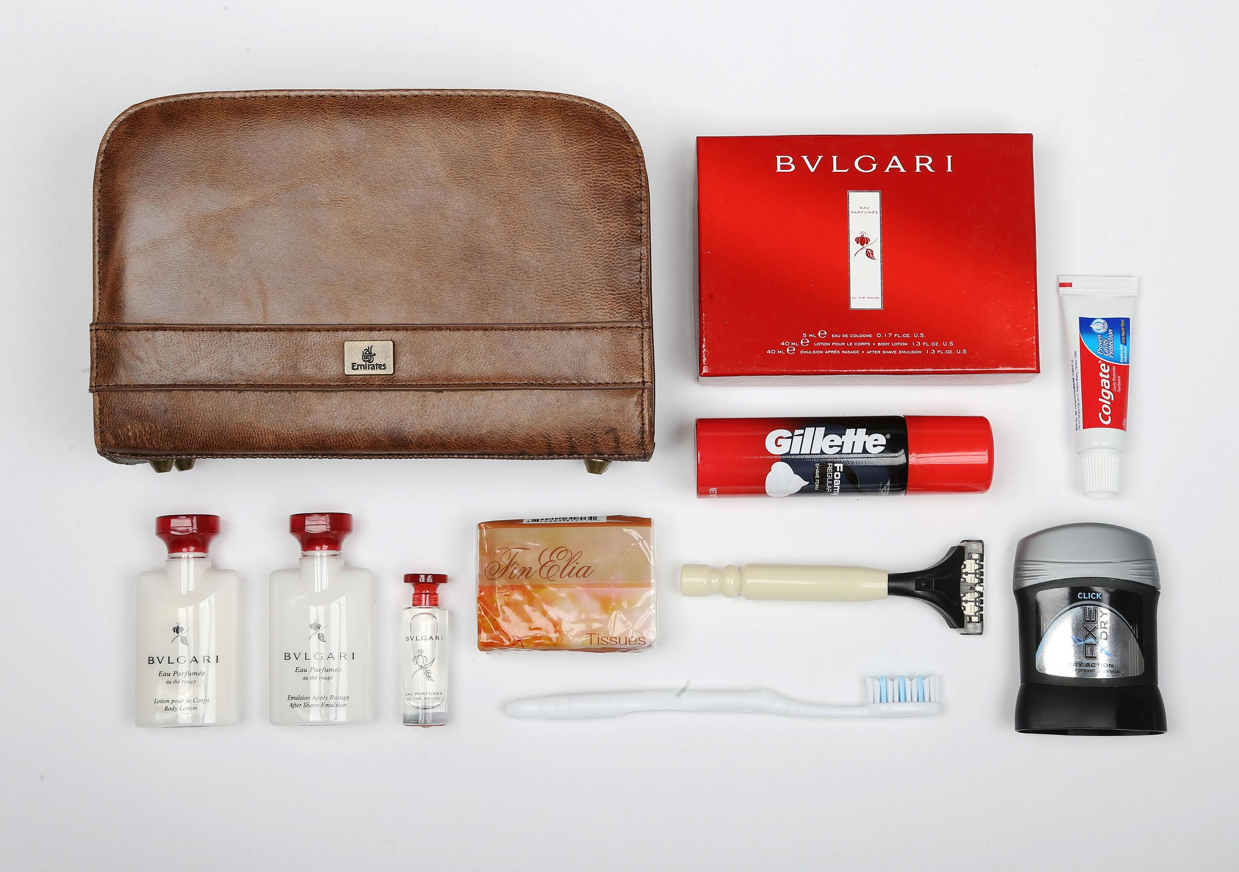 <p><strong>What do you get?</strong> Bulgari au Thé Rouge body lotion, after-shave cream and perfume, Gillette shaving foam, razor, toothbrush, toothpaste, Axe deodorant, tissues<br /> <strong>Best bit of the kit?</strong> It's got to be the leather bag. Soft, every so slightly distressed, like the wash bag your grandfather used at Eton.</p>