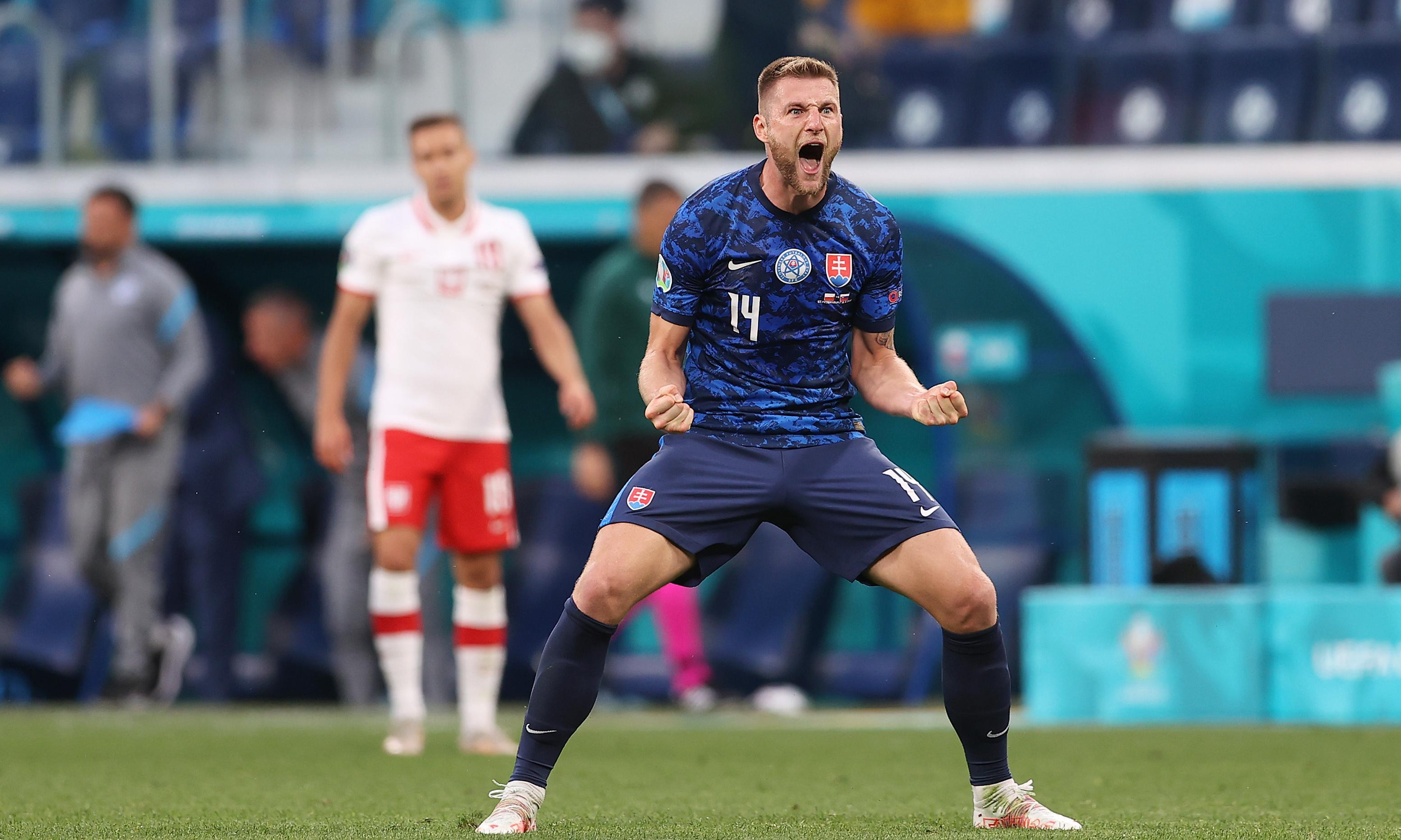 Milan Skriniar strike earns Slovakia Euro 2020 win over 10-man Poland