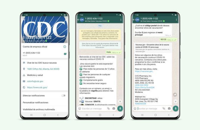 The Spanish-language CDC app on WhatsApp.