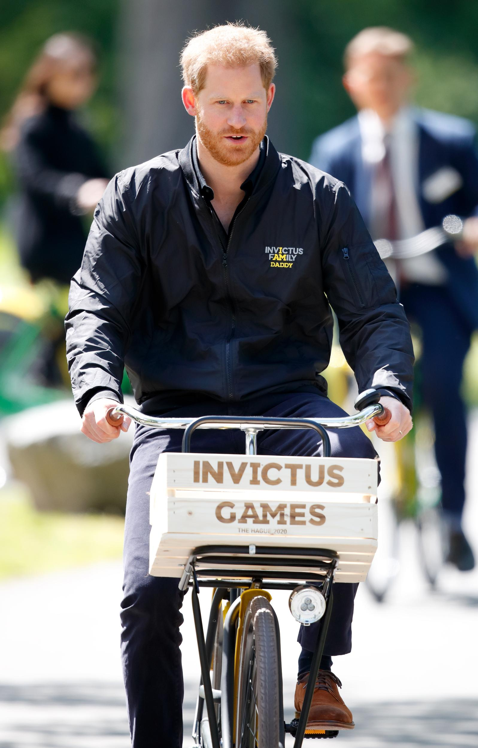 THE HAGUE, NETHERLANDS - MAY 09: (EMBARGOED FOR PUBLICATION IN UK NEWSPAPERS UNTIL 24 HOURS AFTER CREATE DATE AND TIME) Prince Harry, Duke of Sussex rides a bicycle around Sportcampus Zuiderpark as part of a programme of events to mark the official launch of the Invictus Games The Hague 2020 on May 9, 2019 in The Hague, Netherlands. (Photo by Max Mumby/Indigo/Getty Images)