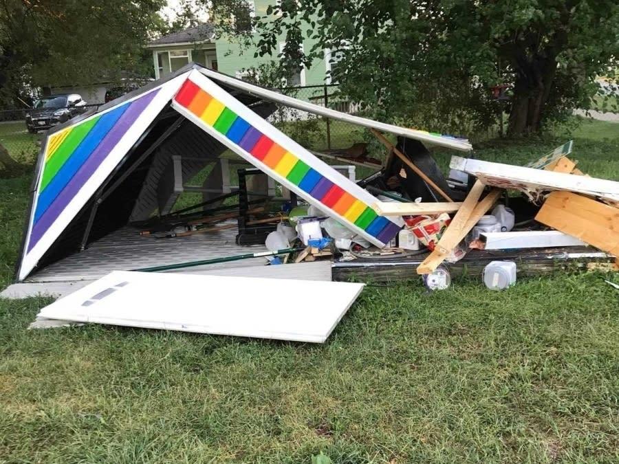 Someone drove a pickup truck into the El Jardin community garden shed last week, destroying it.
