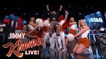 Guillermo Makes A Grand Entrance With University of Texas Cheerleaders