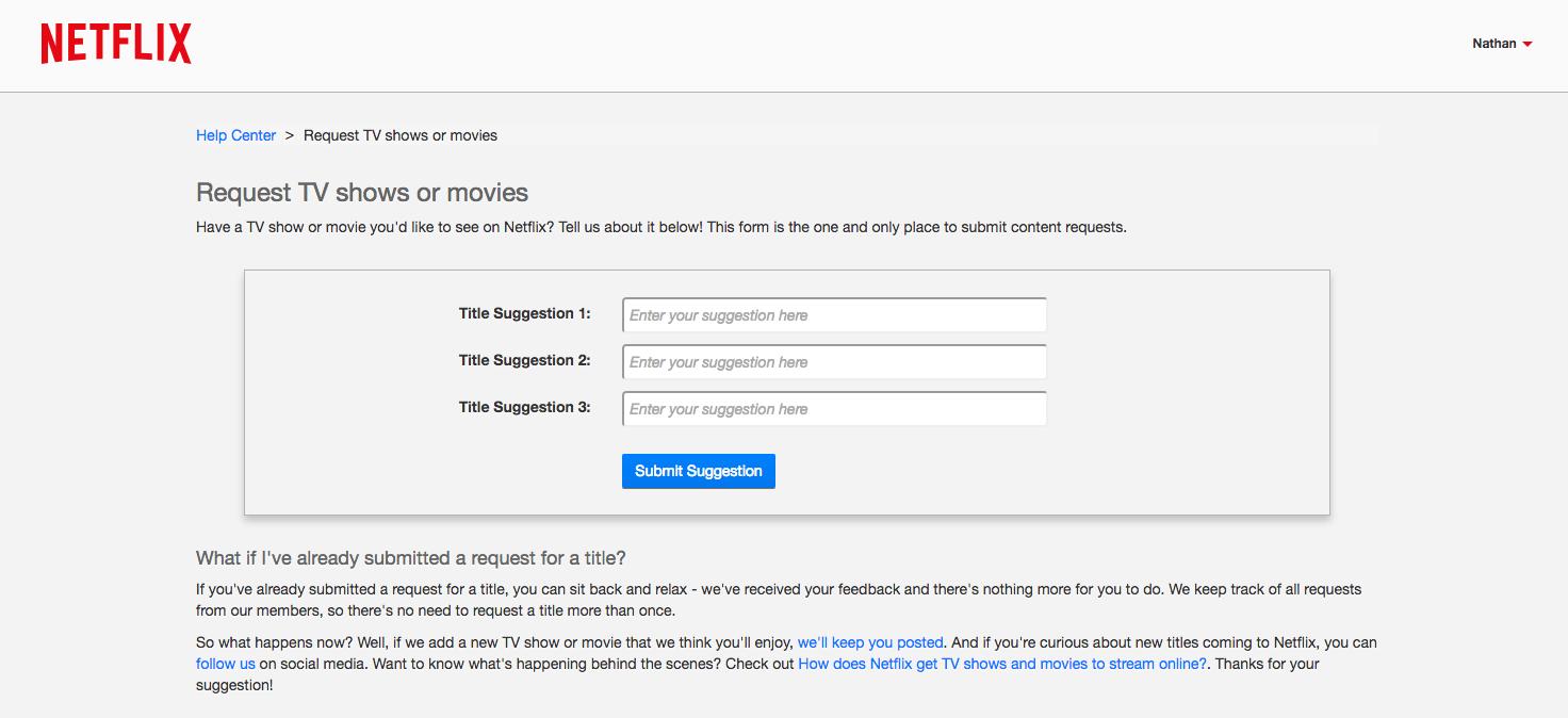 Image result for Netflix Title Request Form
