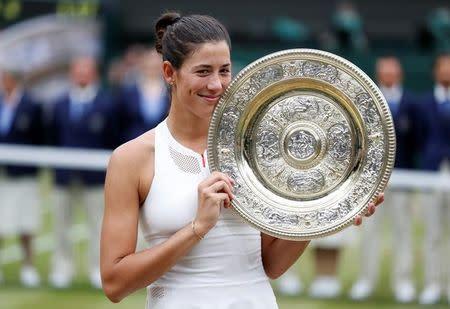 Muguruza  tras su éxito en Wimbledon
