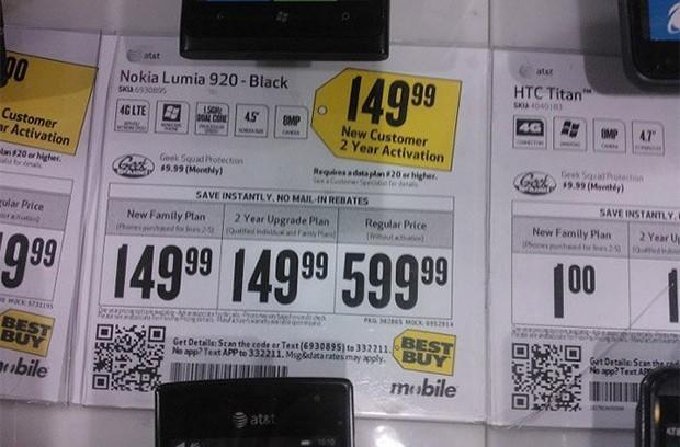 Best Buy pricing once again pegs Nokia Lumia 920 at $150 on-contract (update: now $99)