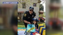 Little girl's favorite cop attends her police-themed birthday party